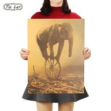 Pegatinas de decoración de pared para el hogar de elefante TIE LER, póster de papel Kraft Vintage de papel, póster de un circo que cae 36X48cm