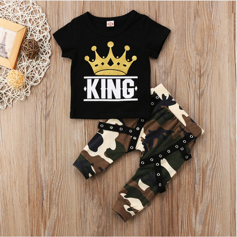 0-2 year Decorative ribbon baby boy clothes camouflage suit 2pcs crown KING baby boy clothes crown camouflage suit