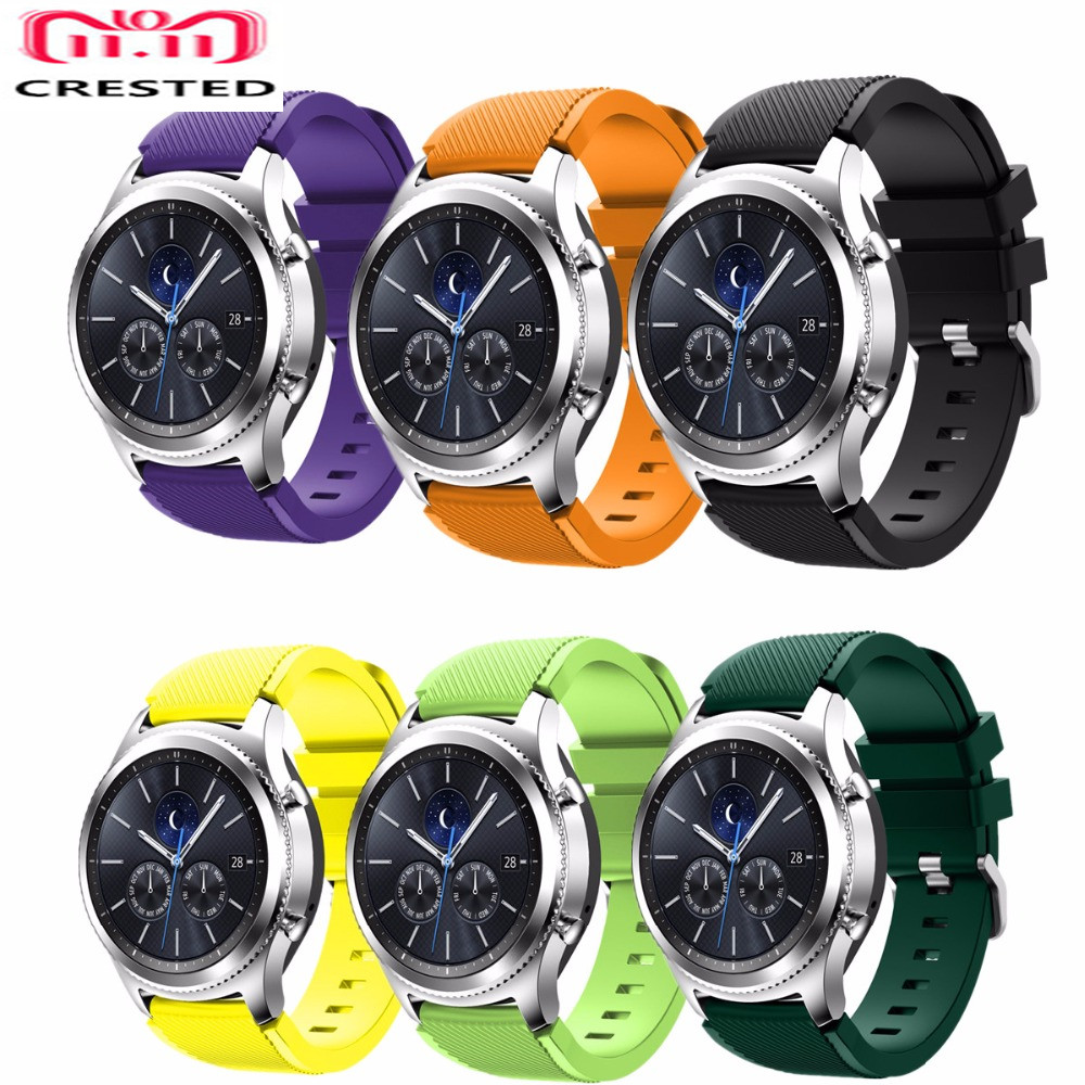 CRESTED 22mm sport strap for Samsung Gear S3 Frontier/classic band rubber smartwatch wristband bracelet watch replacement band silicone sport watchband for gear s3 classic frontier 22mm strap for samsung galaxy watch 46mm band replacement strap bracelet