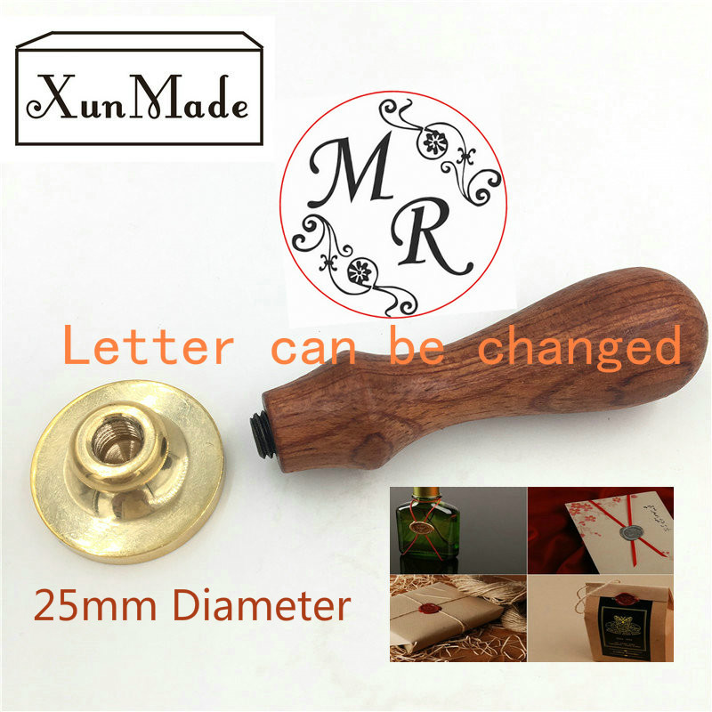 B) Diameter 25mm two letter design wax seal stamp custom Wedding invitation card envelope seal brand new custom wax seal stamp white laser cut flower lace elegant wedding invitations envelope blank paper invitation card kit printing inside cards convite