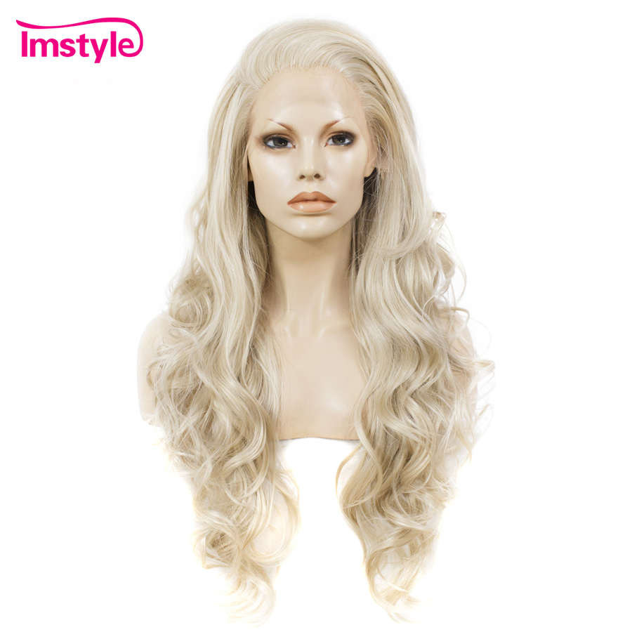Imstyle Ash Blonde Lace Front Wig Synthetic Hair Long Wavy Wigs For Women Glueless High Temperature
