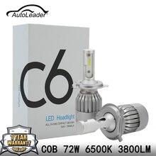 AutoLeader C6 Auto H4 H7 Faros LED Coche de Luz de Cruce COB Chip hi-lo Haz Faros H1 H11 72 W 7600lm 6500 k DC12-24V DRL
