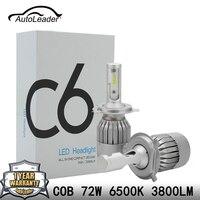 Autoleader c6オートh4 ledヘッドライトh7車のライト低ビームcobチップhi-loビームヘッドランプh1 h11 72ワット7600lm 6500 k〜dc24v drl