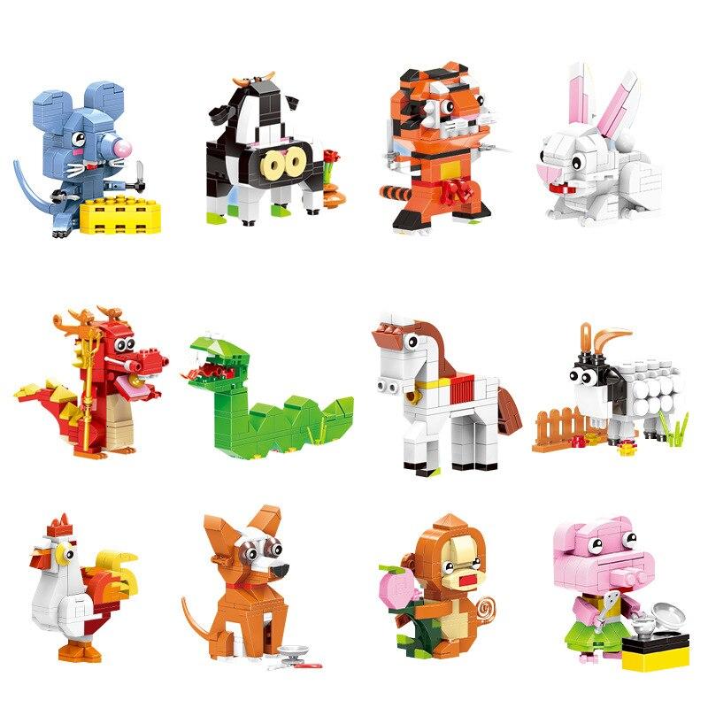 XingBao 18001 Chinese Zodiac Bulk Creative Building Blocks Compatible With LegoINGLYs Classic DIY Model Bricks Educational Toys
