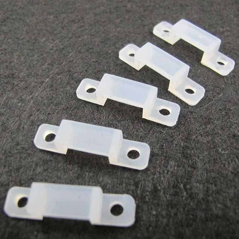 10 Mm 10 Pcs/lot LED Memperbaiki Silikon Pemasangan Klip untuk 220V 5050 5630 Tahan Air Lampu LED Strip Konektor untuk 220V LED Tape Hot