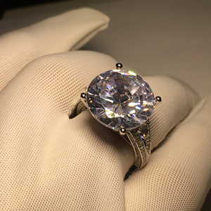 Image 5 - Big Luxus Hochzeit Ring Runde Cut Sona Echtem 925 Solide Sterling Silverfor Frauen Engagement кольца женское plata de ley 925
