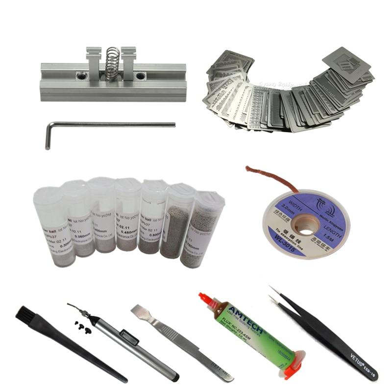 29 pçs universal calor diretamente estênceis + reballing estação de solda pasta bolas bga reballing kit para o trabalho de reparo de chip