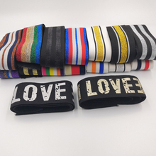 Elastic Bands 4cm Wide Grain Trousers Ribbon Waistband Colorful Stripe Rubber Band 40mm Webbing Bags Sewing Cloth 1Meter