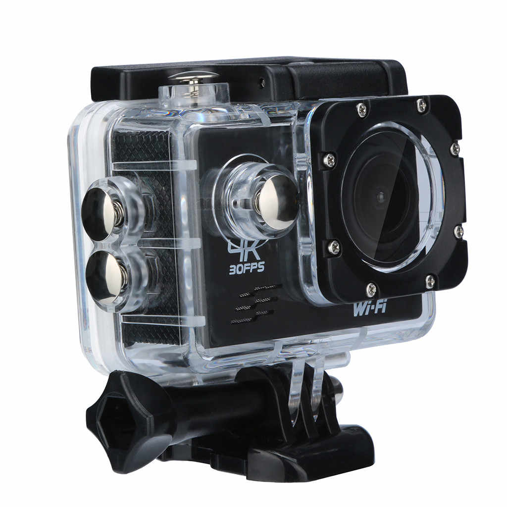 Câmera à prova d' água Ação HD 4 K DVR Tela LCD Wide Angle Mini Head-Mounted Filmadora Câmera Esporte WI-FI À Prova D' Água caso L0604 # D