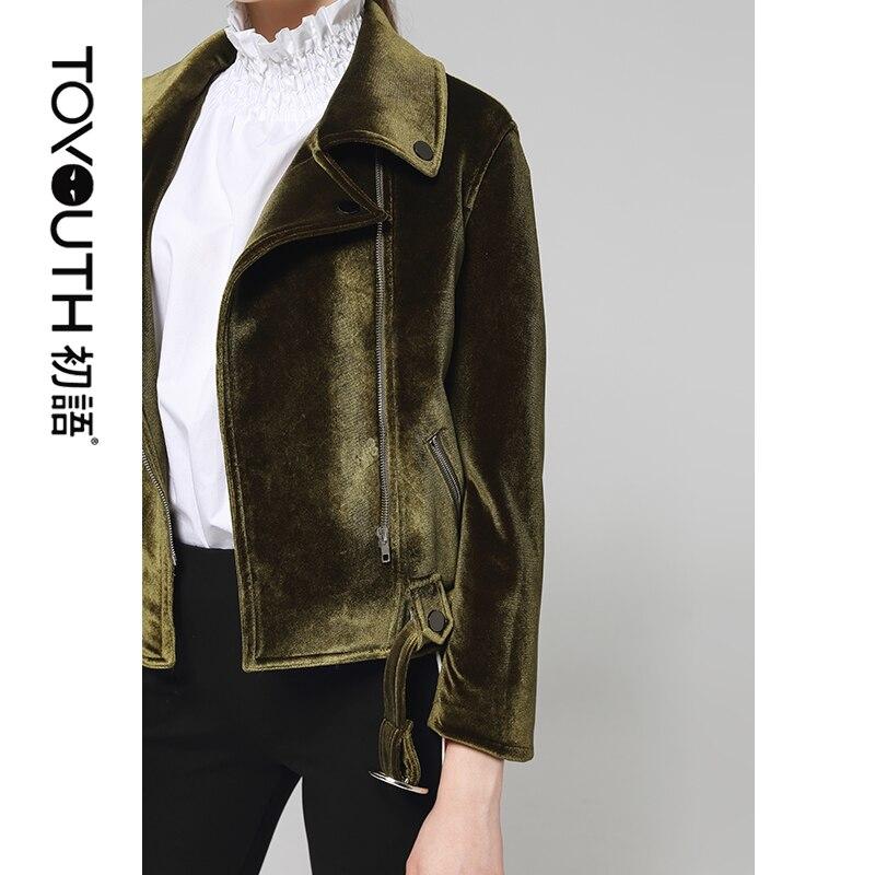 Toyouth Vintage Green Velvet Jacket Zipper Designer Short Jackets Sashes Ladies Coat Women Autumn Jacket Chaqueta Mujer Tops