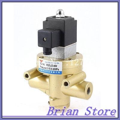K23JD-8W Brass 3 Way 2 Position Stop Type Air Solenoid Valve AC 220V dc24v inner guide type 2 position 3 way solenoid valve