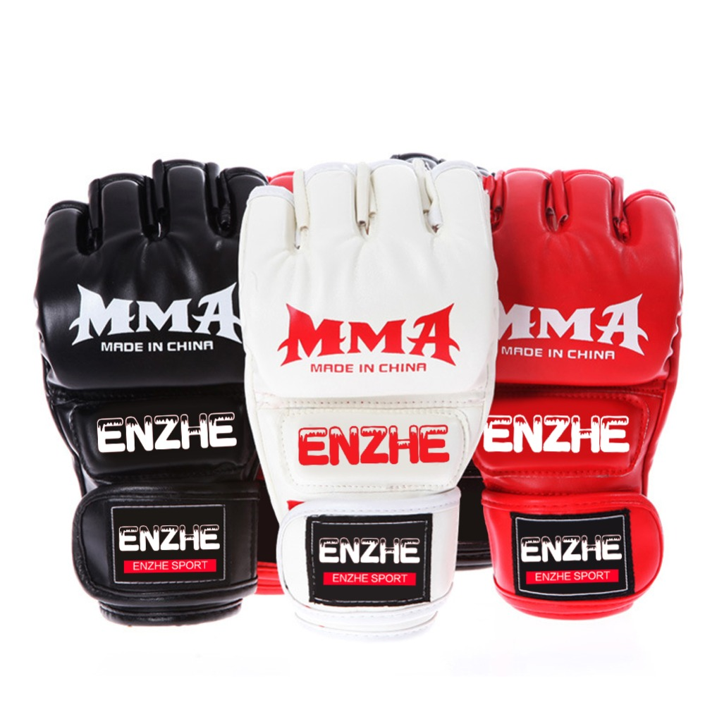 Boxing Gloves MMA Gloves Muay Thai Training Gloves MMA Boxer <font><b>Fight</b></font> Boxing Equipment Half Mitts PU Leather Black/Red image