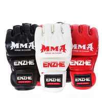 Guantes de boxeo Muay Thai MMA guantes de entrenamiento MMA pelea de boxeadores Equipo de Boxeo medios mitones cuero PU negro/rojo