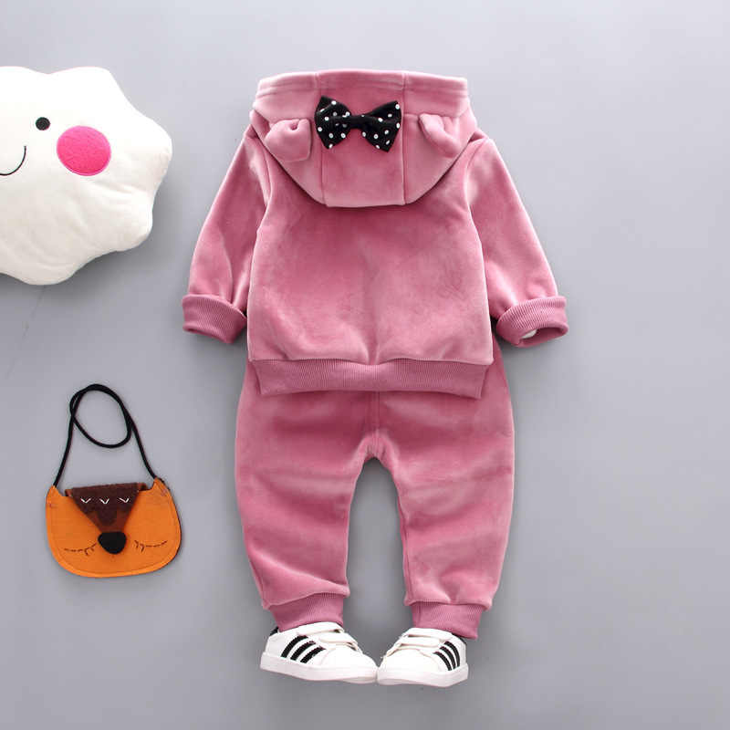 2d5741924 ... 2019 Autumn Winter Baby Girls Clothing Sets Kids Casual Letter Bow  Hooded Velvet Children's Sports Suits ...