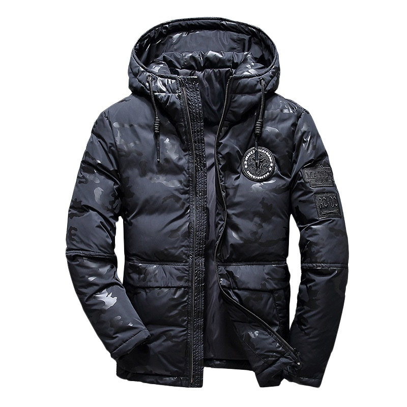 Men Winter Feather Jacket Men's Hooded Camouflage Parka Jackets White Mens Thick Jacket Ultralight Down Jacket Male Donsjas