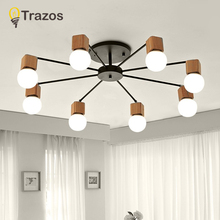 AC100V~220V E27 Wood LED Ceiling Lights Living Room Bedroom Modern Lamp Lustres De Sala Plafon luminarie lights