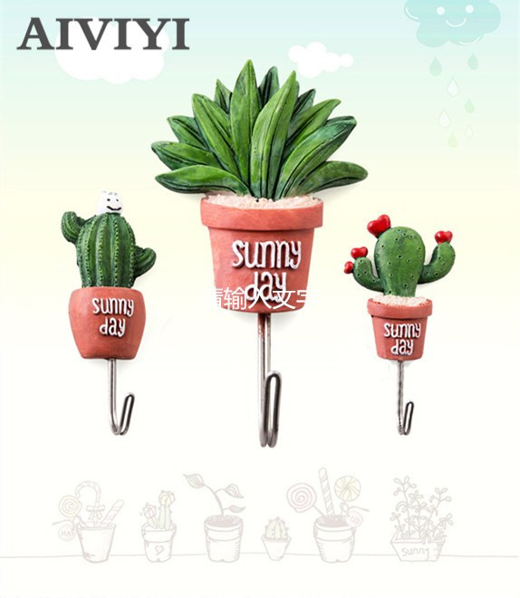 Artificial Plants Resin Cactus Wall Decoration Hanging Hook Home Ornament Succulents Tree Branch