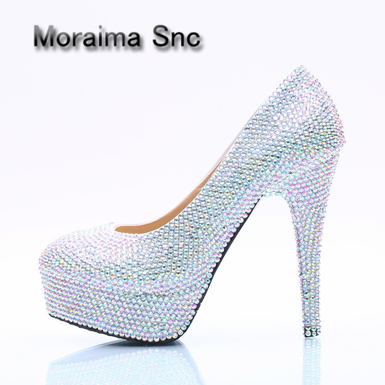 Moraima Snc brand scarpe donna bling bling 14 cm women shoes extreme high heels pumps crystal platform dames schoenen stiletto