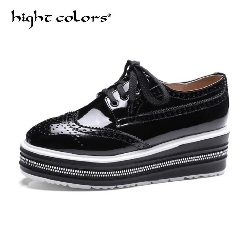 Brand Spring Women Platform Shoes Woman Brogue Patent Leather Flats Lace Up Footwear Female Thick Carved Square British Oxfords qmn women metallic paneled brushed leather brogue shoes women square toe oxfords casual shoes woman leather platform flats