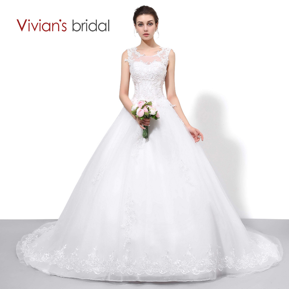 Vivian S Bridal Lace Tulle A Line Country Western Wedding Dresses Sleeveless Bride Dress Court Train