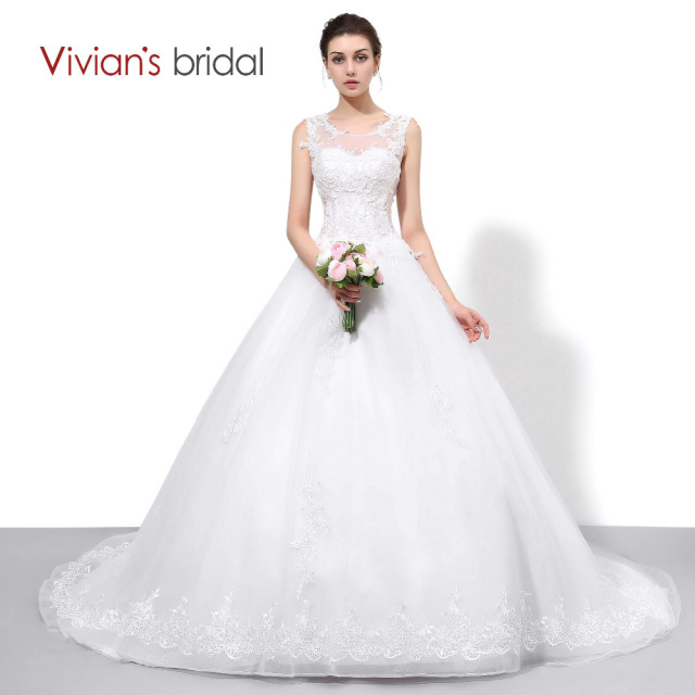 Vivian\'s Bridal Lace Tulle A Line Country Western Wedding Dresses ...