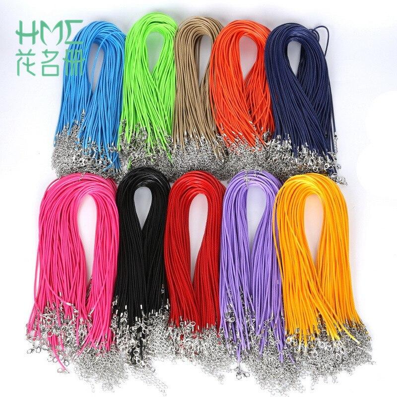 30 шт./лот мм 2 мм искусственного ручной работы кожаный шнур плетеный веревка ожерелья для мужчин и кулон цепи талисманы с застежкой омар DIY Выводы
