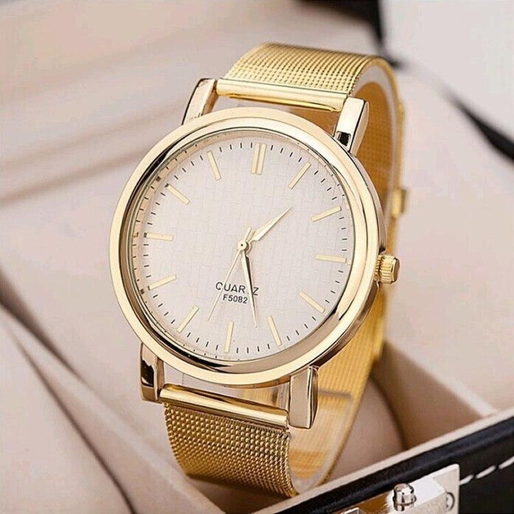 где купить 2018 gold quartz wristwatch men orologio uomo Round relogio masculino male business watches stainless steel mesh strap watch по лучшей цене