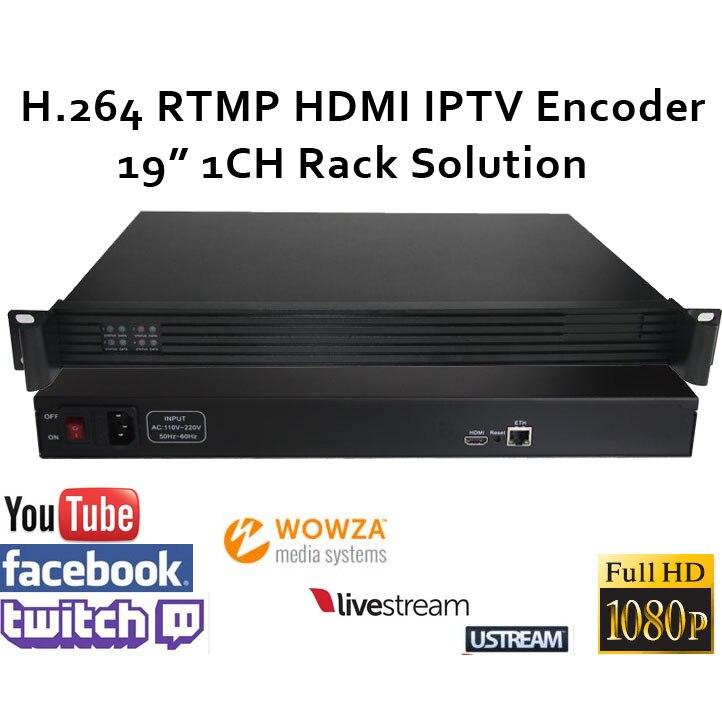 ESZYM H.264 HDMI Vidéo Codeur 1CH 19 Racksolution pour Diffusion en direct soutien RTMP pour Wowza, RED5, FMS, Youtube, Facebook, Contraction