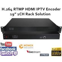 """ESZYM H.264 Codificador De Vídeo HDMI 1CH 19 """"Racksolution para suporte de Transmissão ao vivo de Wowza RTMP, RED5, FMS, Youtube, Facebook, Twitch"""