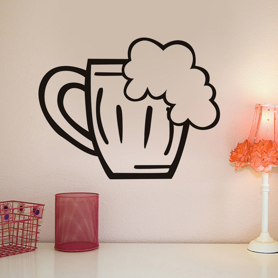 Beer Glass Wall Decal Vinyl Stickers Creative Restaurant