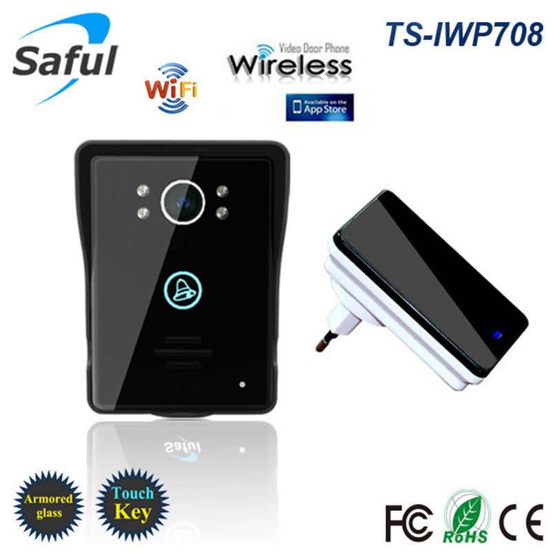 Hot Wifi video puerta teléfono timbre inalámbrico intercomunicador soporte IOS Android teléfono inteligente o tableta llamada remota, desbloqueado envío gratis