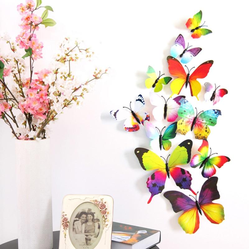 12 unids/set diy imán del pvc 3d mariposas mariposas pegatinas de pared para niñ