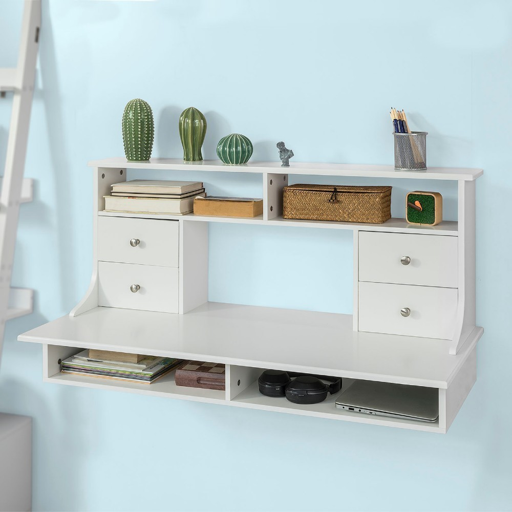 SoBuy FWT49-W, Wall Mounted Table Desk Wall Computer Desk Workstation with Shelves and Drawers wooden dressing table makeup desk with stool oval rotation mirror 5 drawers white bedroom furniture dropshipping