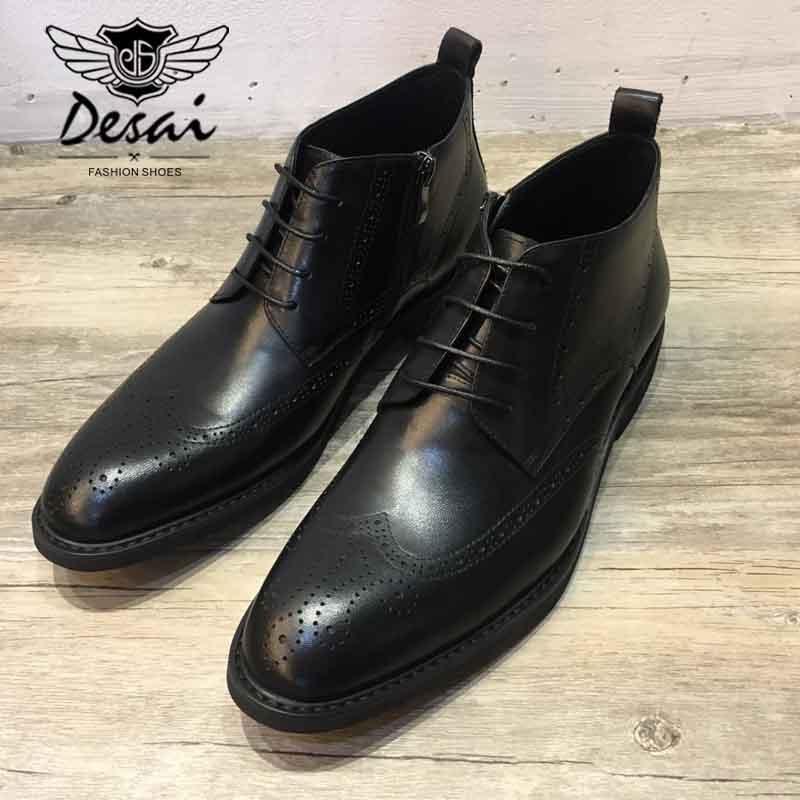 Água Sapatos Desgaste Casuais Botas Manchado De Esculpida Boots Desai Homens Ankle Nova Negócio Couro Luz Conforto Black Trabalho Brock Atualização xaqWO4I