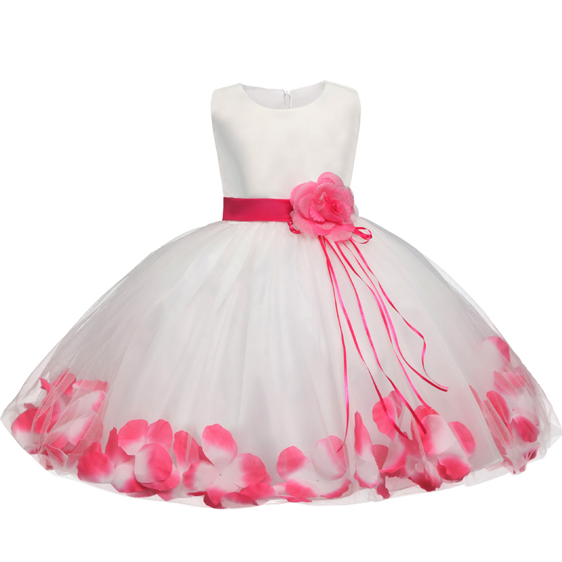 New Girls Dress Children Clothing Petals Hem Toddler Girl Dresses Wedding Formal Party Princess Dress Kids Clothes for 3-8 yrs