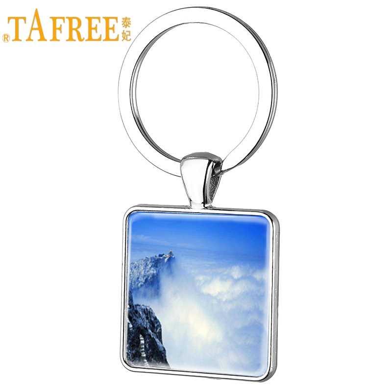 TAFREE ที่มีชื่อเสียง Mountain Emei สแควร์พวงกุญแจอินเทรนด์แหวนแก้ว Cabochon Dome จี้เครื่องประดับของที่ระลึก EM12