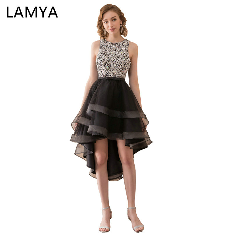 Lamya Sexy Sequined Backless Prom Dresses 2018 High Low Evening