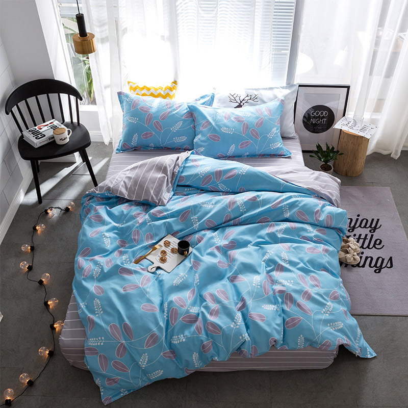 #a Aloe cotton comfortable simple and skin-friendly soft apply bed linen pillowcase bedding four sets Home Textile C528-1