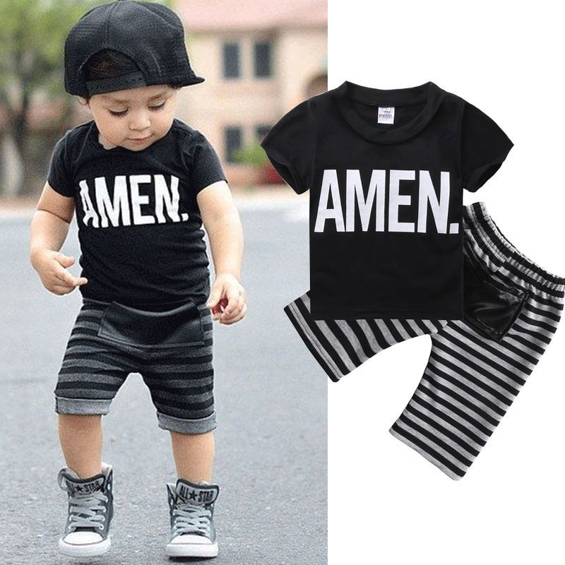 New Fashion Kids Clothes Set Baby Boys Summer 2pcs Set Short Sleeve T Shirt and Striped Short Outfit Children Set