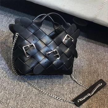 Fashion Woven Luxury crossbody bags European lady messenger bag Handmade bucket Bag Designer Top Quality cow leather Bags