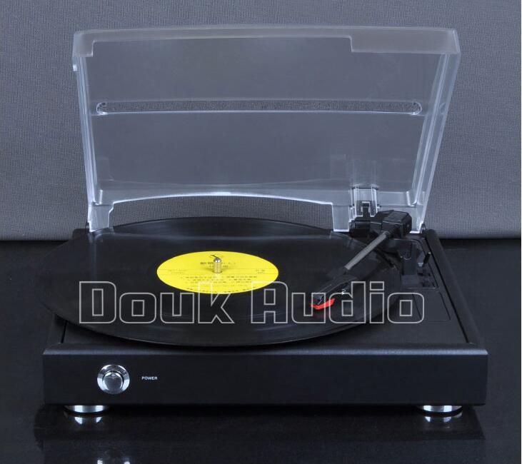 Prix pour 2016 Nouveau Douk Audio Salut-fi 3-vitesse Stéréo Platine LP Vinyle Tourne-disque/PC USB Enregistrement/AUX 220 V