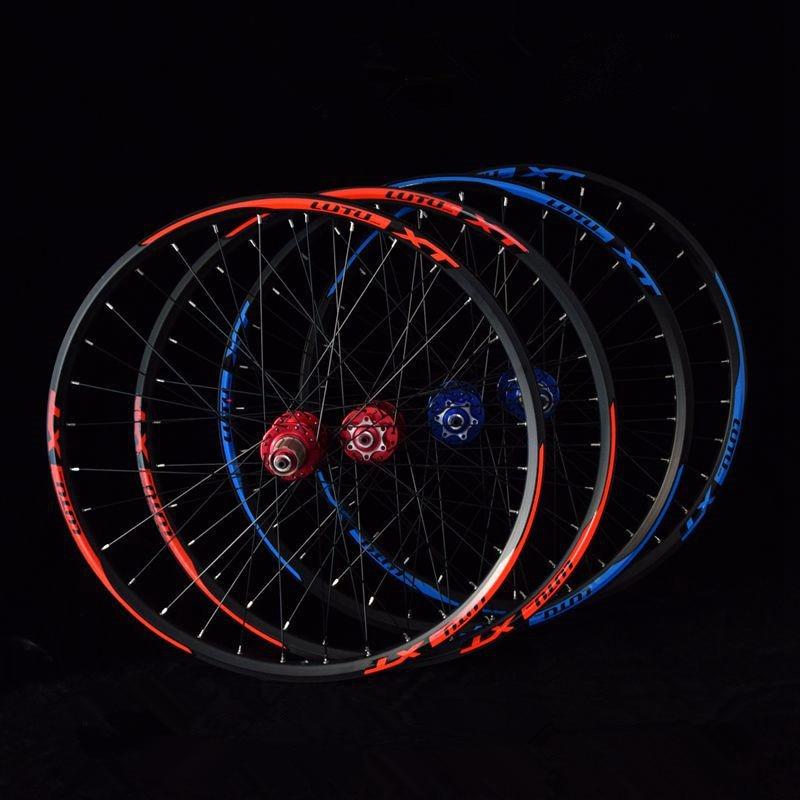 2018 hot sale l01 MTB mountain bike bicycle 4 sealed bearings wheels double rim wheelset rims foxrace mtb mountain bike 26 27 5inch ultra light carbon big hub wheel wheels wheelset 1480g rim rims