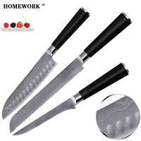 חמה למכירה 3 יחידות סט של סכיני דמשק באיכות גבוהה צבע ידית עץ 9Cr18Mov פלדת דמשק סכיני מטבח סט מחיר נמוך ליבה