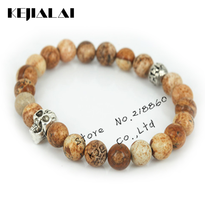 Highquality Beaded Silver Realistic Skull Head Natural Picture Stone Beads Bracelet Fashion Stretch Men's And Women's Bracelet