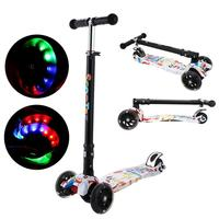ANCHEER Children Kick Scooter LED Lamp PU 3 Wheels LED Mini Bicycle Outdoor Aluminum Sport Bodybuilding Scooter For Child