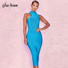 6d2ddc43430635 Nieuwe 2018 dames elegante bandage jurk sky blue hoge kraag sexy Bodycon  bandage lange jurk party club groothandel. US  37.00   stuk Gratis  Verzending