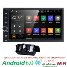 Capacitive Android6.0 4G Wifi Car Monitor GPS Navigation 2din Stereo Radio GPS Bluetooth USB Built-in map mic Mirror-link Camera