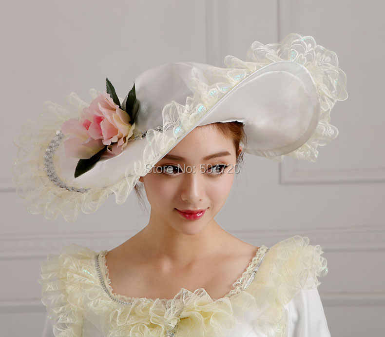33a1ddf1e132e Vintage Ladies Palace Royal Civil war The Taylor Fascinator,Wedding White  Victorian dress Hats Caps