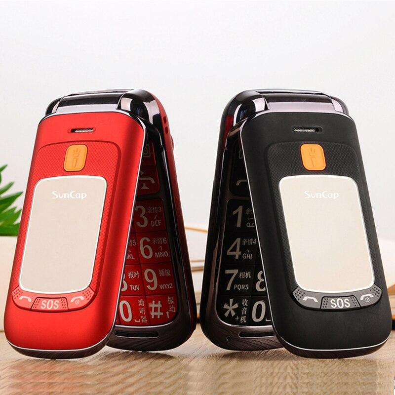 Flip Double Double Écran Double SIM SOS clé Vitesse Cadran Tactile Écriture Russe Clavier FM Senior Téléphone Portable Pour Les Personnes Âgées