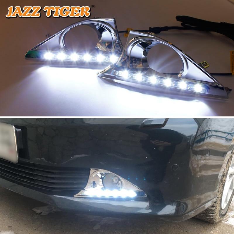 JAZZ TIGER 2PCS Funzione di oscuramento automatico 12V Lampada di guida per auto LED Luce di marcia diurna DRL per Toyota Camry 2012 2013 2014